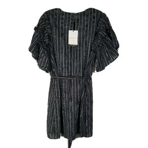 NWT Who What Wear Ruffle Sleeve Black Stripe Short